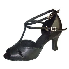 Women's Real Leather Heels Sandals Latin Ballroom With T-Strap Buckle Dance Shoes