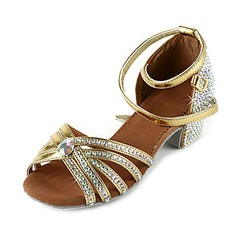 Women's Patent Leather Heels Sandals Latin Ballroom Salsa Wedding Party With Rhinestone Ankle Strap Dance Shoes