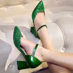 Women's Sparkling Glitter Chunky Heel Pumps Closed Toe Mary Jane shoes