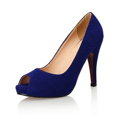 Women's Suede Stiletto Heel Pumps Peep Toe shoes