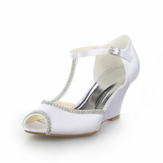 Women's Satin Wedge Heel Peep Toe Sandals Wedges With Rhinestone