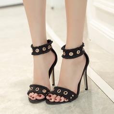 Women's Canvas Stiletto Heel Sandals Pumps Peep Toe With Rivet Zipper shoes