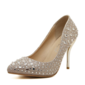 Women's Leatherette Stiletto Heel Pumps Closed Toe With Rhinestone shoes (085095339)