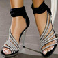 Women's Satin Stiletto Heel Sandals With Crystal Zipper shoes (087114601)