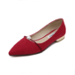 Women's Suede Flat Heel Flats Closed Toe With Imitation Pearl shoes (086094411)
