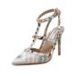 Leatherette Stiletto Heel Sandals Pumps Closed Toe With Rivet shoes (085094425)