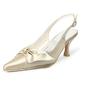 Women's Satin Spool Heel Closed Toe Pumps Slingbacks With Bowknot Buckle (047005130)