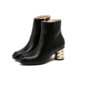 Women's Leatherette Chunky Heel Pumps Boots Ankle Boots With Zipper Jewelry Heel shoes (088102388)