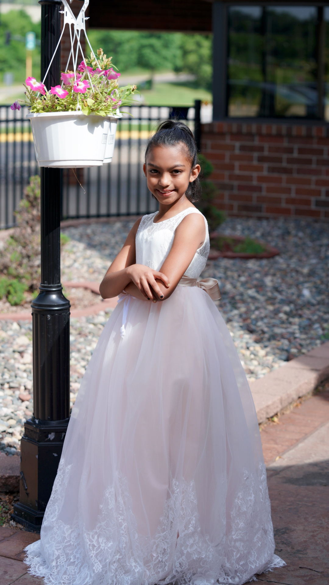 Ball Gown Floor-length Flower Girl Dress - Satin/Tulle/Lace Sleeveless Scoop Neck With Sash/Beading (010136608)
